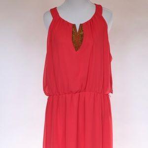 Thalia Sodi Coral Dress High-Low Hem Chain Detail